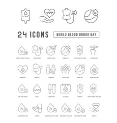 line icons world blood donor day vector image
