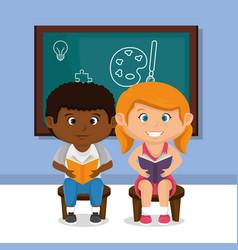 little school kids couple with chalkboard vector image