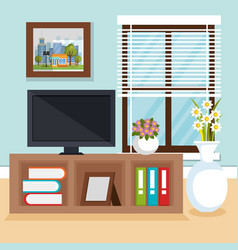 Living room scene icon vector