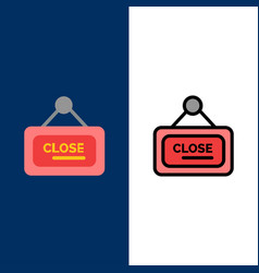 Marketing board sign close icons flat and line vector