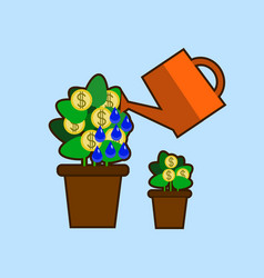Money tree watering care isolated vector