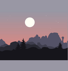 mountain landscape with single trees under a vector image