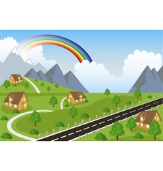 Mountain landscape with small town vector image