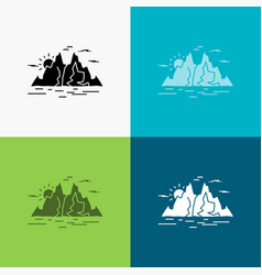 nature hill landscape mountain water icon over vector image
