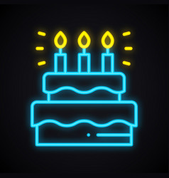 Neon cake sign with candles light sweets pie vector