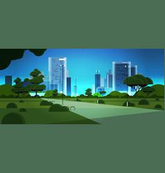 night urban park city skyline skyskraper buildings vector image