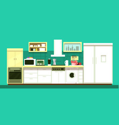 Nobody cartoon kitchen room interior vector