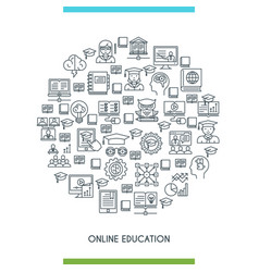 Online education line concept vector