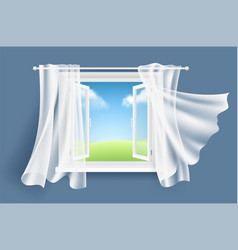 Open window with curtains sunny background with vector