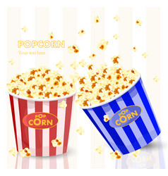 Popcorn in red and blue striped bucket boxes vector