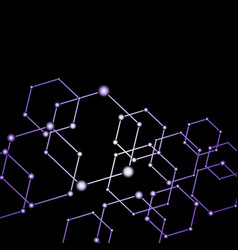 Purple light connected dots abstract background vector