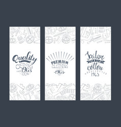 Quality clothing tailor made premium quality card vector