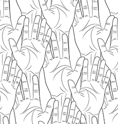 Raised hands contour seamless pattern vector