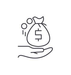 receiving the money line icon concept receiving vector image