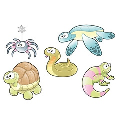 Reptiles and Spider Family vector image