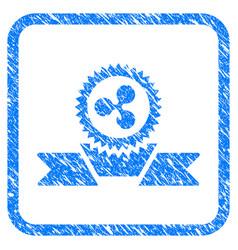 Ripple award ribbon framed stamp vector