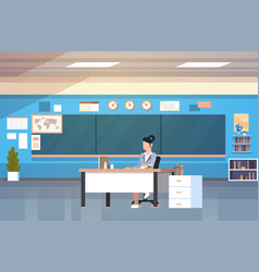 School classroom interior woman teacher sitting at vector