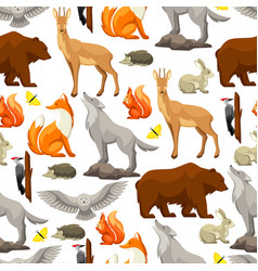 Seamless pattern with woodland forest animals and vector