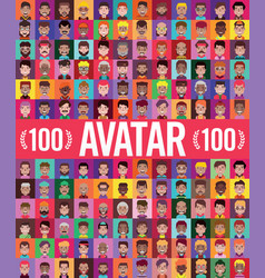 Set 100 men and women avatars in flat design vector