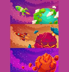 set horizontal banners with cartoon vector image