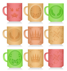 set of multi-colored mugs with patterns vector image