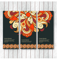 set of vertical banners flyers with mandala vector image