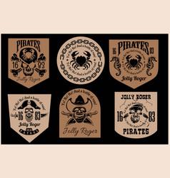 set pirate badges - pirates emblems set vector image
