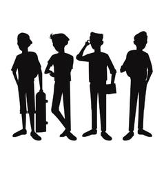 Silhouette teens boy student design vector