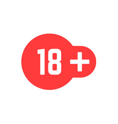 Simple 18 plus red icon vector