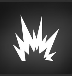 simple white explosion icon isolated on black vector image