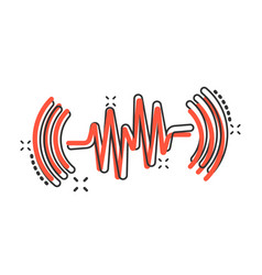 Sound wave icon in comic style heart beat cartoon vector