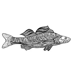 Tangle Patterns style fish vector image