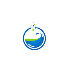 Water splash round logo vector