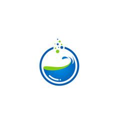 Water splash round logo vector