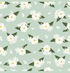 White cosmos flower on green background seamless vector