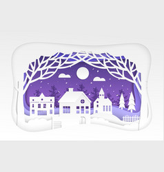 winter town - modern paper cut vector image