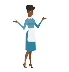 African confused cleaner with spread arms vector