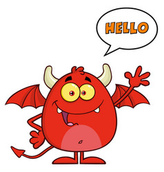 funny red devil character waving vector image vector image