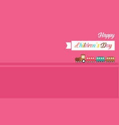 Pink banner cute for children day vector