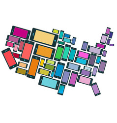 smartphones all across the usa vector image