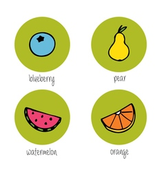 Doodle fruits and berries vector image vector image