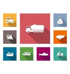 Flat transportation icons set vector image vector image