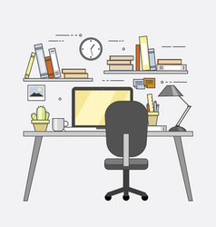 modern workplace in office cozy home office vector image