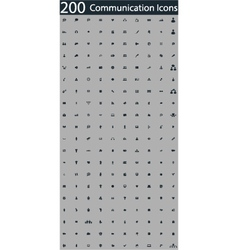 set of 200 communication icons vector image