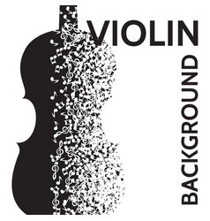 abstract background with violin and notes vector image vector image