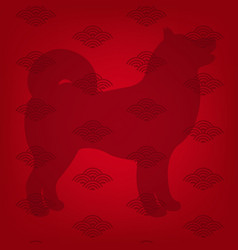 Dog and red background vector