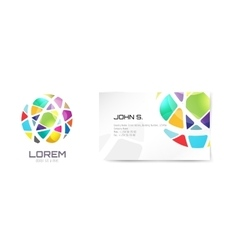 globe logo and business card template vector image
