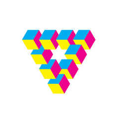 Impossible triangle in cmy colors cubes arranged vector