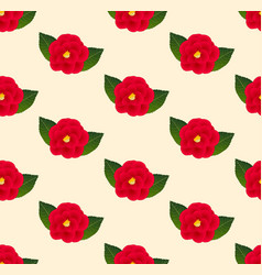 red camellia flower seamless on beige ivory vector image vector image