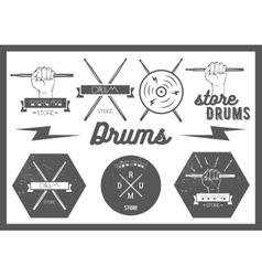 set of vintage style drums labels emblems vector image vector image